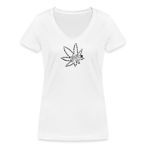 liść marihuany - Ekologiczna koszulka damska z dekoltem w serek Stanley & Stella