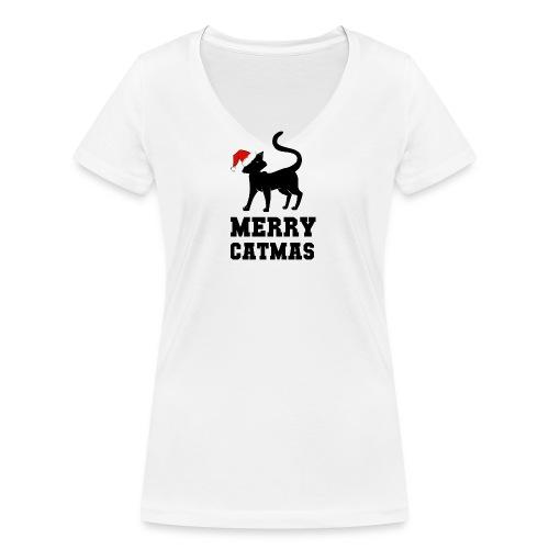 Merry Catmas - Silhouette - Frauen Bio-T-Shirt mit V-Ausschnitt von Stanley & Stella