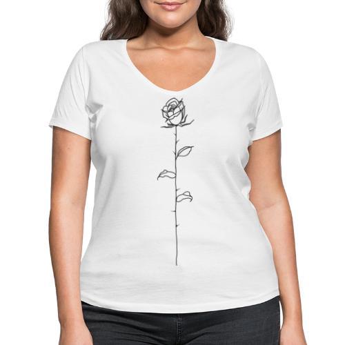 Black Rose - Women's Organic V-Neck T-Shirt by Stanley & Stella