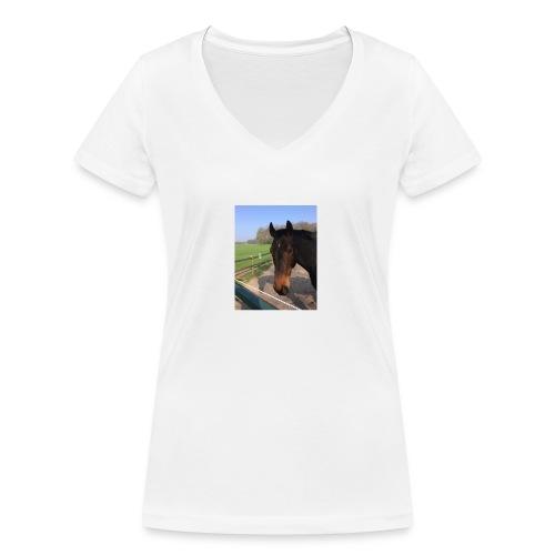 Met bruin paard bedrukt - Vrouwen bio T-shirt met V-hals van Stanley & Stella