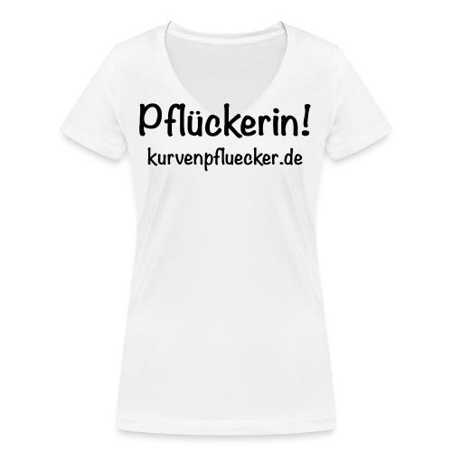 SVG Pflückerin url black - Frauen Bio-T-Shirt mit V-Ausschnitt von Stanley & Stella