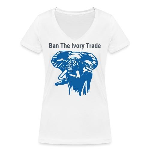ELEFANT I Ban The Ivory Trade - Frauen Bio-T-Shirt mit V-Ausschnitt von Stanley & Stella