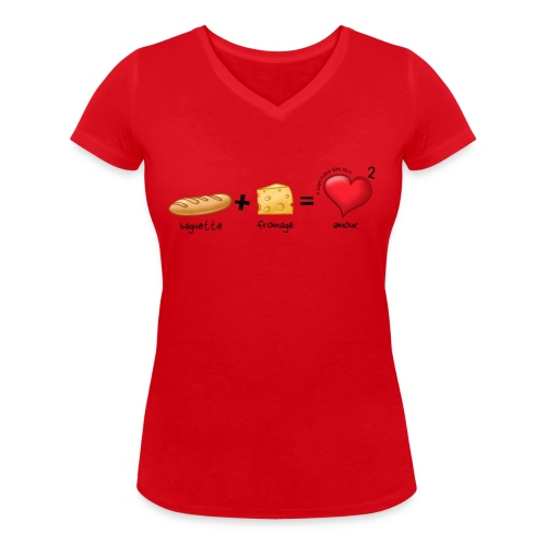 bread cheese boopee black - Women's Organic V-Neck T-Shirt by Stanley & Stella
