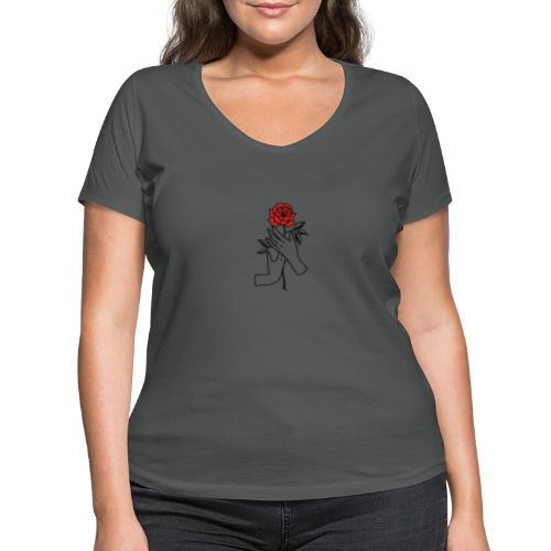 Fiore rosso - T-shirt ecologica da donna con scollo a V di Stanley & Stella