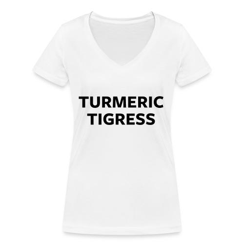 Turmeric Tigress - Women's Organic V-Neck T-Shirt by Stanley & Stella