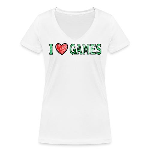 I Love Games - Ekologiczna koszulka damska z dekoltem w serek Stanley & Stella