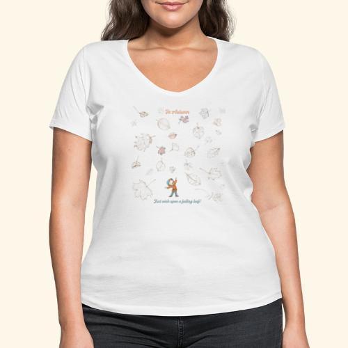 Just wish upon a falling leaf in Automn - Frauen Bio-T-Shirt mit V-Ausschnitt von Stanley & Stella
