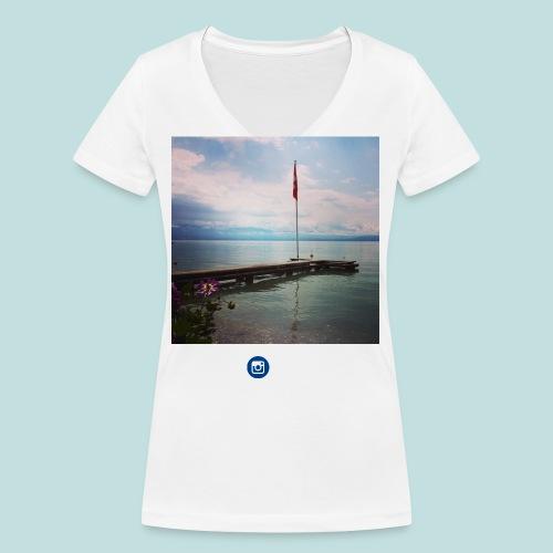 drapeau suisse lac léman - T-shirt bio col V Stanley & Stella Femme