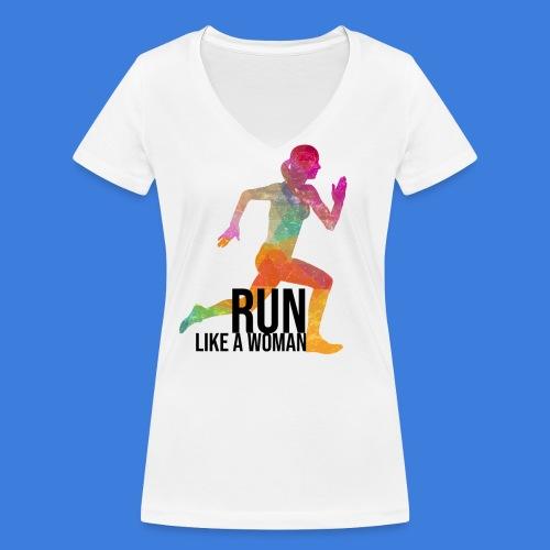 Run like a woman - Frauen Bio-T-Shirt mit V-Ausschnitt von Stanley & Stella