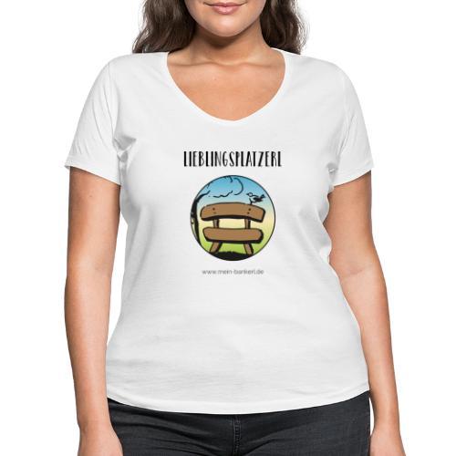 Lieblingsplatzerl MeinBankerl - Frauen Bio-T-Shirt mit V-Ausschnitt von Stanley & Stella