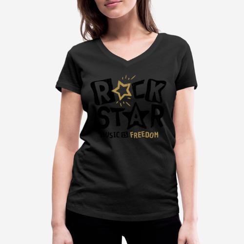 Musik Freiheit - Frauen Bio-T-Shirt mit V-Ausschnitt von Stanley & Stella