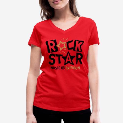rock star music freedom - Frauen Bio-T-Shirt mit V-Ausschnitt von Stanley & Stella