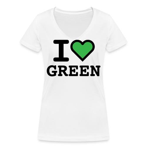 i-love-green-2.png - T-shirt ecologica da donna con scollo a V di Stanley & Stella
