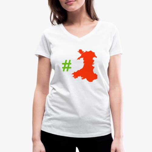 Hashtag Wales - Women's Organic V-Neck T-Shirt by Stanley & Stella