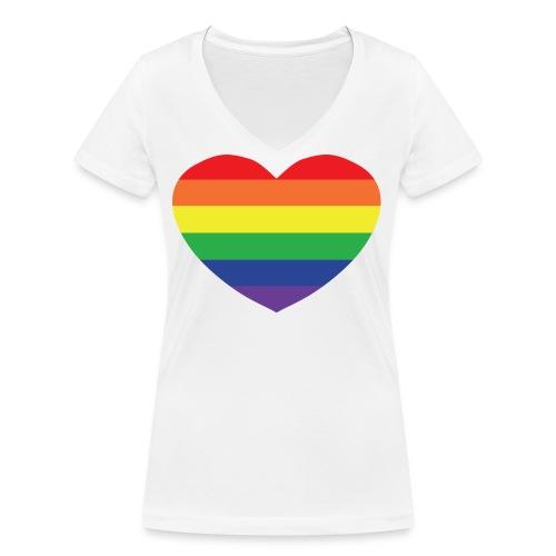 Rainbow heart - Women's Organic V-Neck T-Shirt by Stanley & Stella