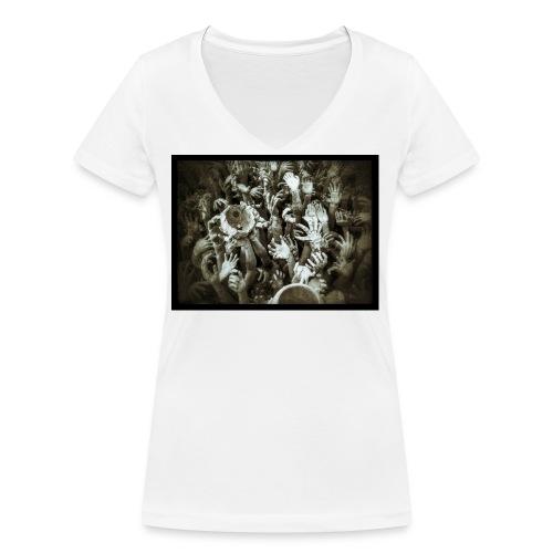 Hell Hands - T-shirt ecologica da donna con scollo a V di Stanley & Stella