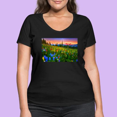 Bagliori in montagna - T-shirt ecologica da donna con scollo a V di Stanley & Stella