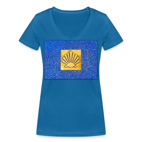 Scallop Shell Camino de Santiago - Women's Organic V-Neck T-Shirt by Stanley & Stella