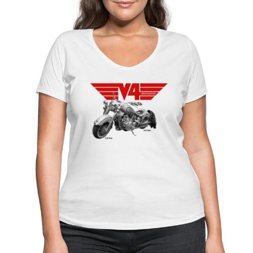 V4 Motorcycles red Wings - Frauen Bio-T-Shirt mit V-Ausschnitt von Stanley & Stella