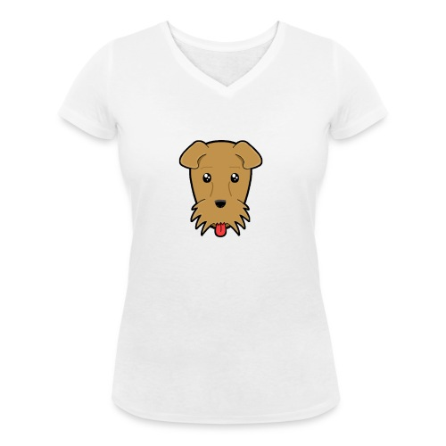 Shari the Airedale Terrier - Women's Organic V-Neck T-Shirt by Stanley & Stella