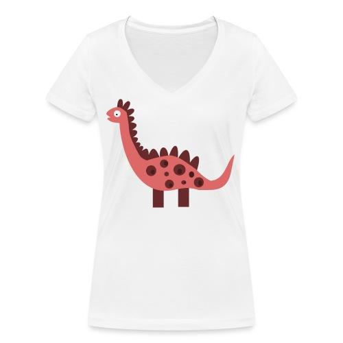 Dino pink - Women's Organic V-Neck T-Shirt by Stanley & Stella