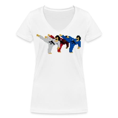 8 bit trip ninjas 2 - Women's Organic V-Neck T-Shirt by Stanley & Stella