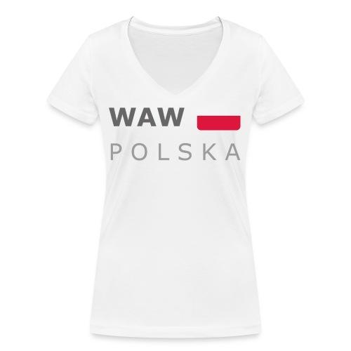 WAW POLSKA dark-lettered 400 dpi - Women's Organic V-Neck T-Shirt by Stanley & Stella