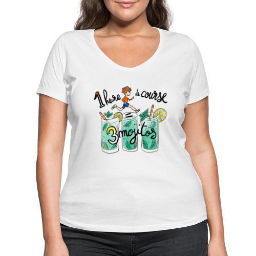 1h de course = 3 mojitos - T-shirt bio col V Stanley & Stella Femme