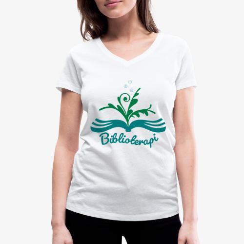 Biblioterapi - börja så! - Ekologisk T-shirt med V-ringning dam från Stanley & Stella
