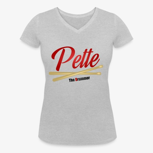 Pette the Drummer - Women's Organic V-Neck T-Shirt by Stanley & Stella