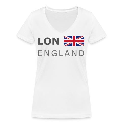 LON ENGLAND BF dark-lettered 400 dpi - Women's Organic V-Neck T-Shirt by Stanley & Stella