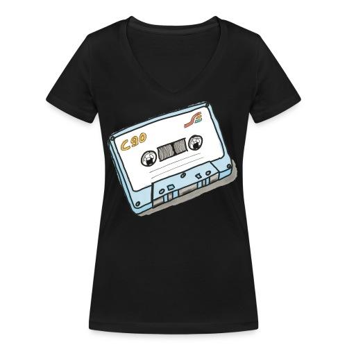 Cassette - Frauen Bio-T-Shirt mit V-Ausschnitt von Stanley & Stella