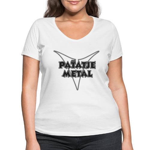 Patatje Metal dubbellijnrandlogo - Vrouwen bio T-shirt met V-hals van Stanley & Stella