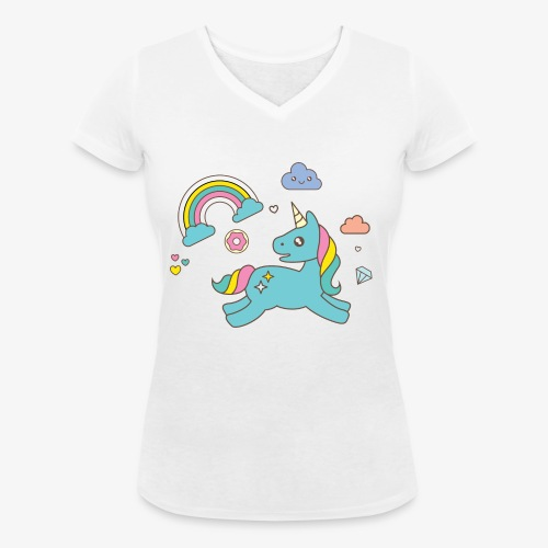 colored unicorn - Women's Organic V-Neck T-Shirt by Stanley & Stella