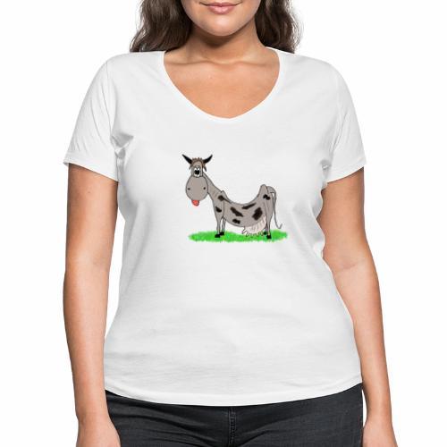 Kuh, Comic, Cartoon - Frauen Bio-T-Shirt mit V-Ausschnitt von Stanley & Stella