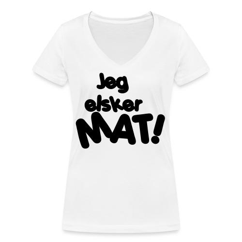 Jeg elsker mat - Økologisk T-skjorte med V-hals for kvinner fra Stanley & Stella