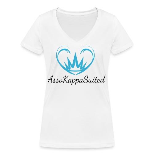 AssoKappaSuited Blu - T-shirt ecologica da donna con scollo a V di Stanley & Stella
