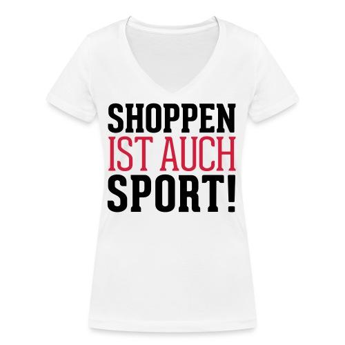 Shoppen ist auch Sport! - Frauen Bio-T-Shirt mit V-Ausschnitt von Stanley & Stella
