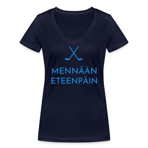 Mennaeaen eteenpaein sininen - Stanley & Stellan naisten v-aukkoinen luomu-T-paita