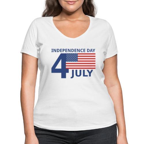 4th of July. 4 luglio - T-shirt ecologica da donna con scollo a V di Stanley & Stella