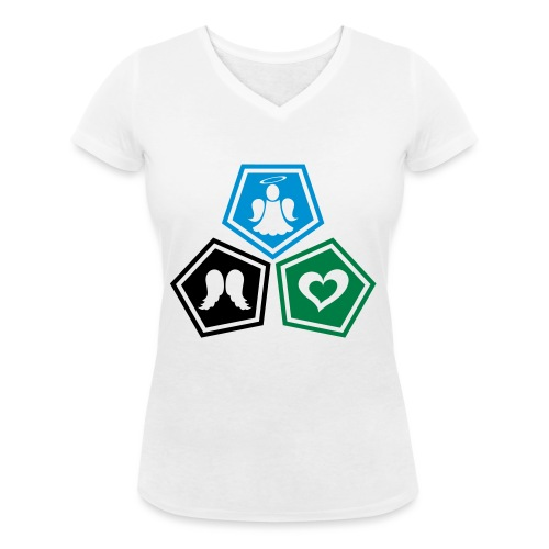 Tee shirt baseball Enfant Trio ange, ailes d'ange - Women's Organic V-Neck T-Shirt by Stanley & Stella