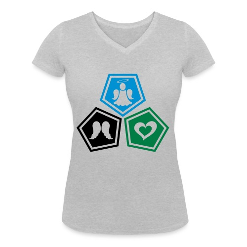 Tee shirt baseball Enfant Trio ange, ailes d'ange - Women's Organic V-Neck T-Shirt by Stanley & Stella