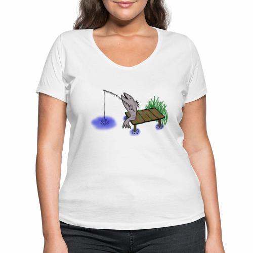 Fisch, Angler,Teich - Frauen Bio-T-Shirt mit V-Ausschnitt von Stanley & Stella