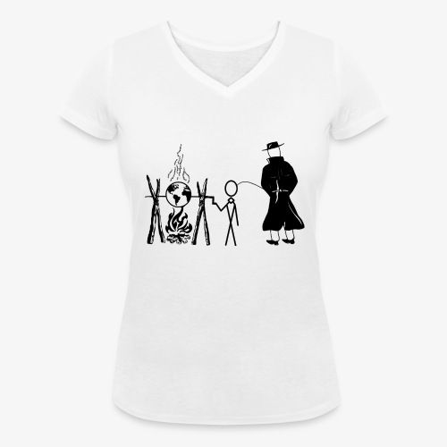 Pissing Man against human self-destruction - Frauen Bio-T-Shirt mit V-Ausschnitt von Stanley & Stella