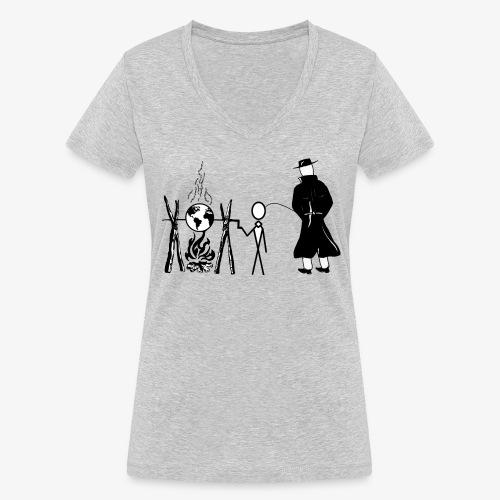 Pissing Man against human self-destruction - Frauen Bio-T-Shirt mit V-Ausschnitt von Stanley & Stella