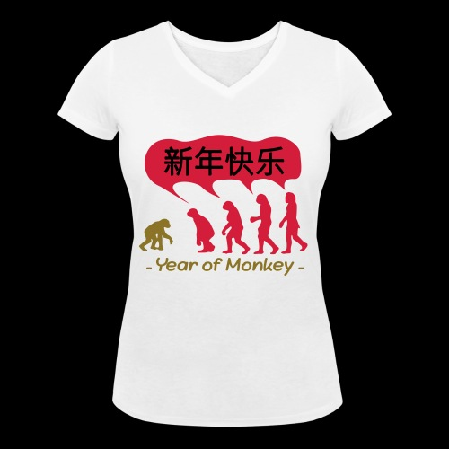kung hei fat choi monkey - Women's Organic V-Neck T-Shirt by Stanley & Stella