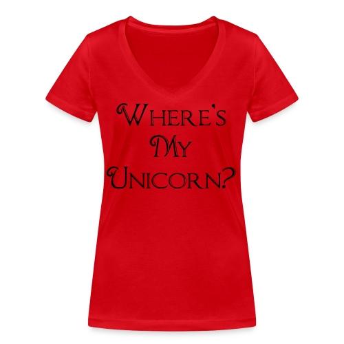 Where's My Unicorn - Women's Organic V-Neck T-Shirt by Stanley & Stella