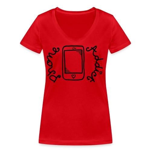 Phone addict ! - T-shirt bio col V Stanley & Stella Femme