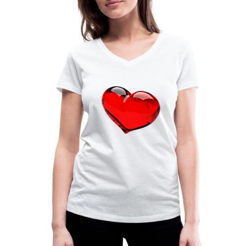 serce 3D - Ekologiczna koszulka damska z dekoltem w serek Stanley & Stella