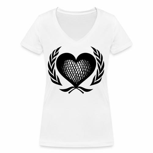 Herz Kranz Gitter Netz Logo Emblem Geschenkidee - Frauen Bio-T-Shirt mit V-Ausschnitt von Stanley & Stella